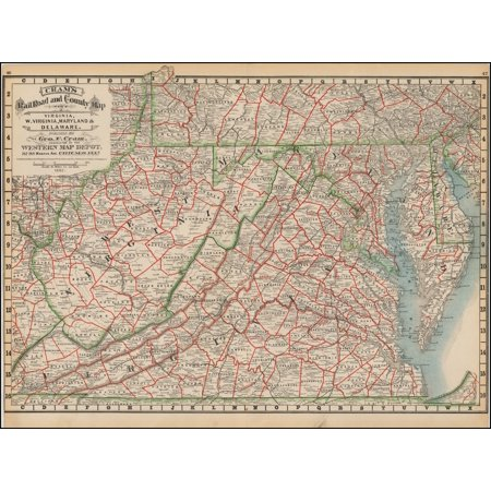 LAMINATED POSTER Cram's Rail Road & County Map of Virginia, W. Virginia, Maryland and Delaware . . . 1882 POSTER PRINT 24 x 36