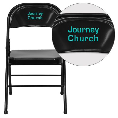 Personalized HERCULES Series Triple Braced & Double Hinged Black Metal Folding Chair FLAHF3MC309ASBKEMBVYLGG