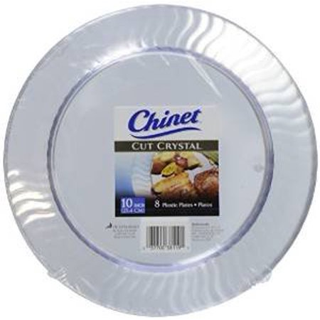 Chinet Cut Crystal Dinner Plates, 10 Inch, 8 ct - Plastic Clear Plates