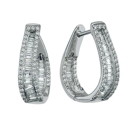 1cttw Diamond Hoop Earrings In 10k White Gold