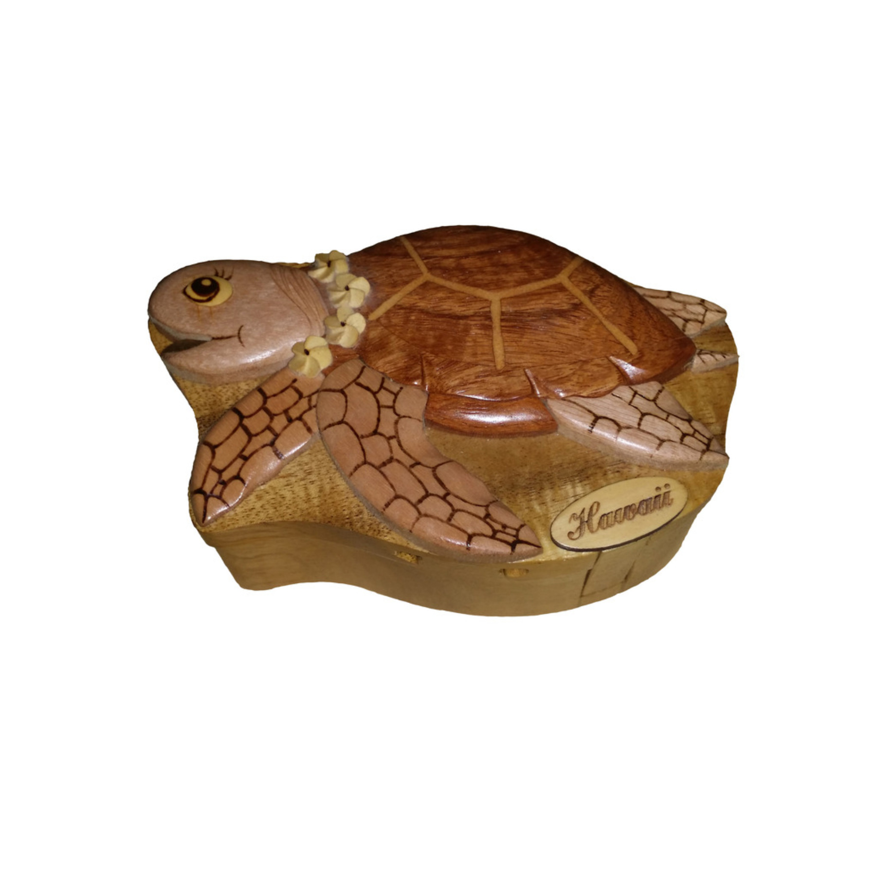 Hawaii Style Wood Keepsake Jewelry Puzzle Box Turtle With...