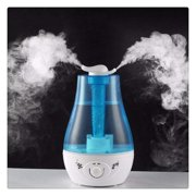 WALFRONT 4L Ultrasonic Humidifier Diffuser, Home Office Living Room Air Purifier Double Spray LED Light Essential Oil Diffuser Cool Mist Maker US Plug