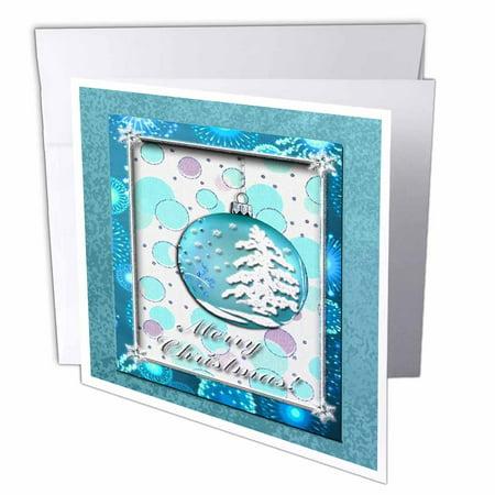3drose aqua snow tree ornament merry christmas greeting cards 6 x 3drose aqua snow tree ornament merry christmas greeting cards 6 x 6 inches m4hsunfo