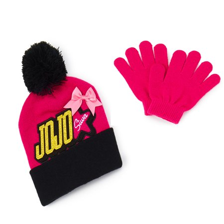 Nickelodeon JoJo Siwa Beanie/Knit Hat & Glove Set