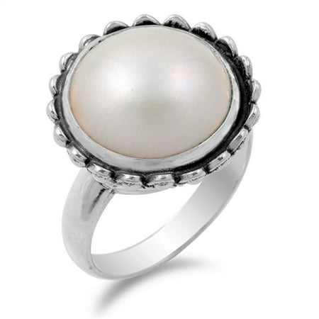 Freshwater Simulated Pearl Beautiful Flower Ring ( Sizes 6 7 8 9 ) New .925 Sterling Silver Band Rings (Size 9)