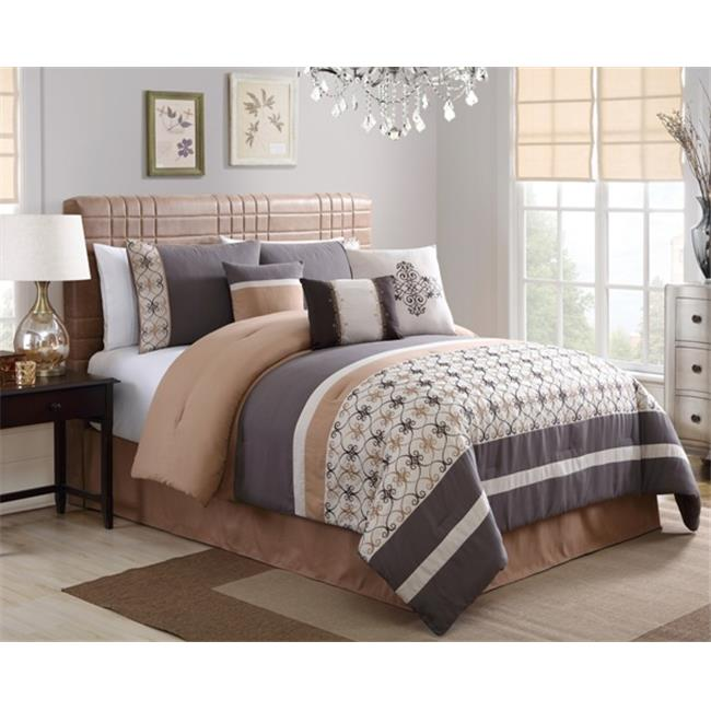 Elight Home 20903K Splendor Embroidered 7 Piece Comforter Set - King