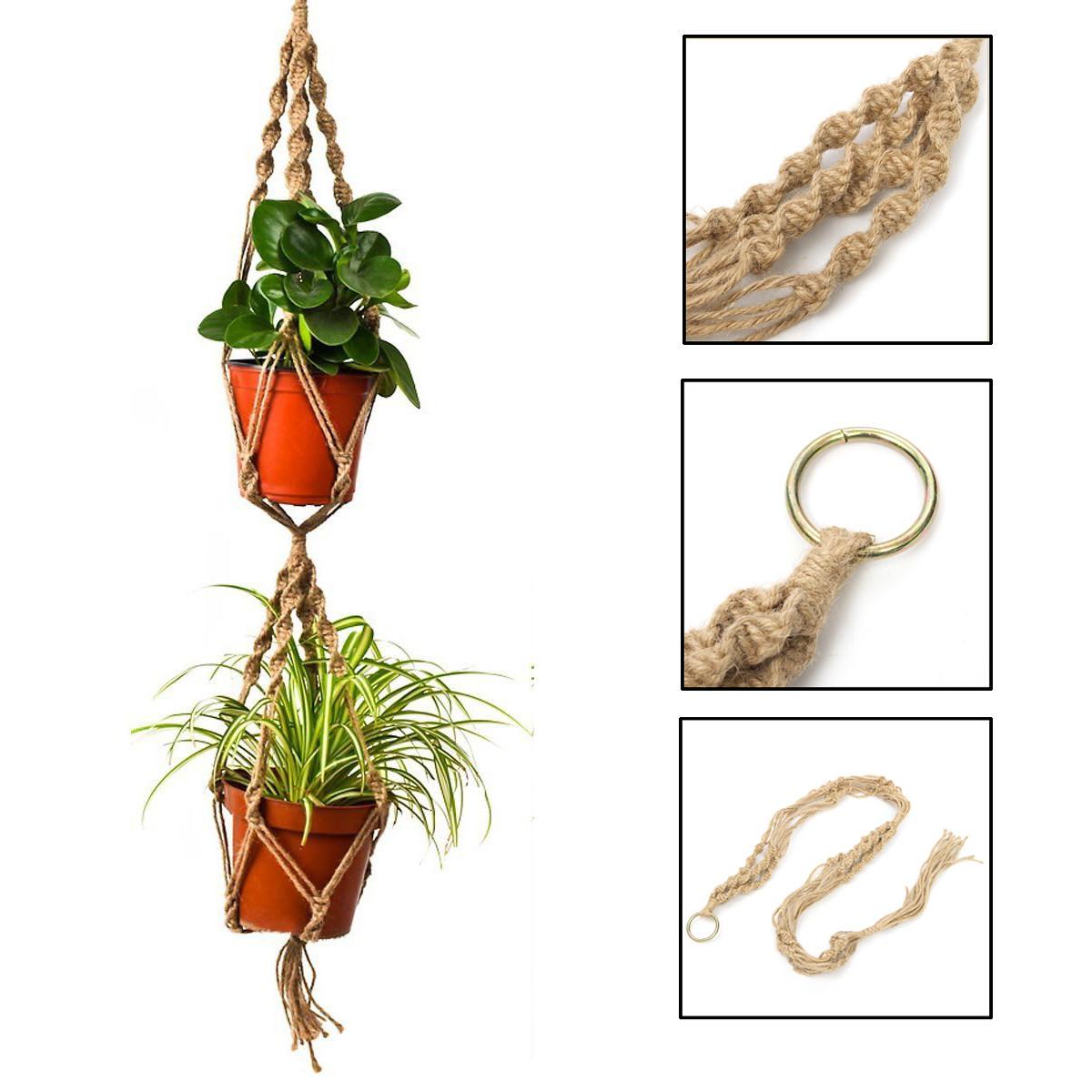 "43.3"" Durable Hemp Jute Macrame Plant Hanger Rope Double Layer Hanging Basket, Hold Two Plant Flower Pot"