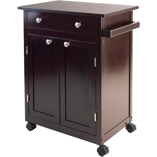 Savannah Kitchen Cart Cabinet, Dark Espresso