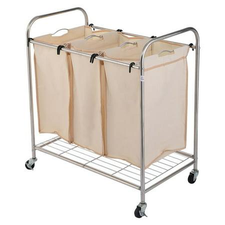 3 Bag Laundry Rolling Cart Basket Hamper Sorter Storage