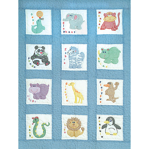 "Jack Dempsey Children's Zoo Nursery Quilt Blocks, 12Pk, 9"" x 9"""