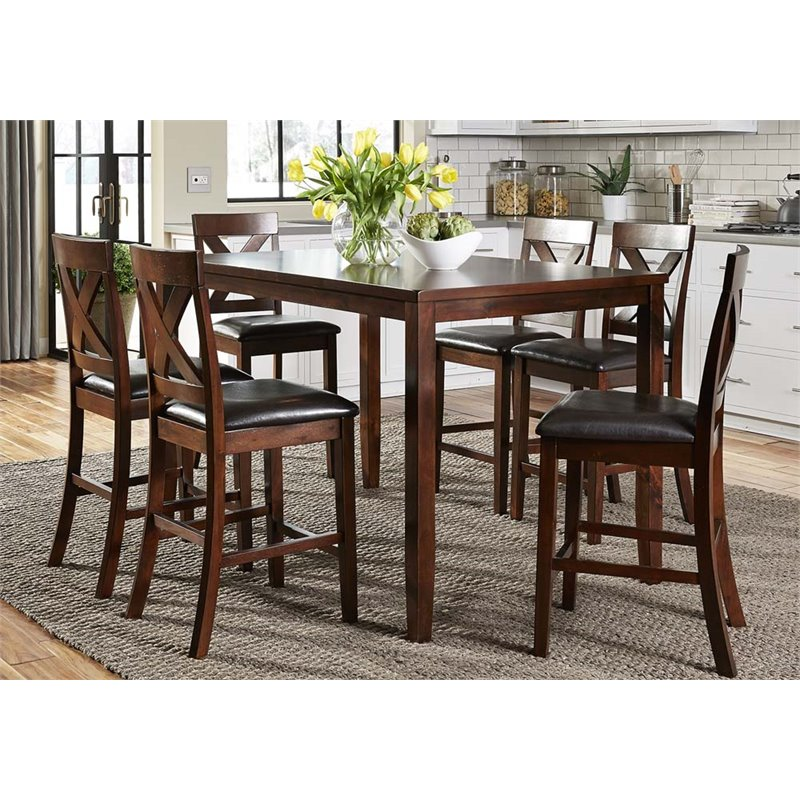 liberty furniture thornton 7 piece counter height dining set in russet