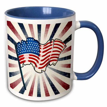 Rays Mug - 3dRose Patriotic USA American Flag Illustration With Red White Blue Rays Independence Or Memorial Day - Two Tone Blue Mug, 11-ounce