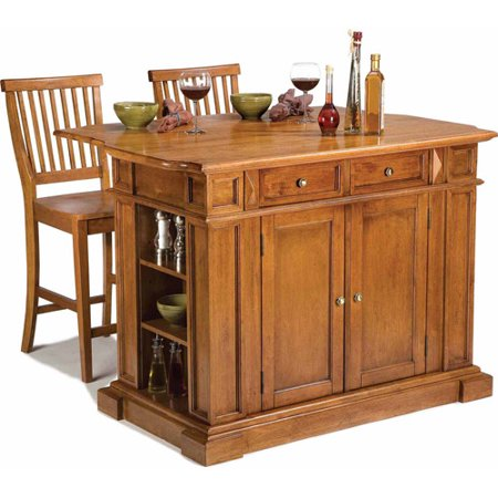 Home Styles Traditions Kitchen Island And 2 Stools  Distressed Oak