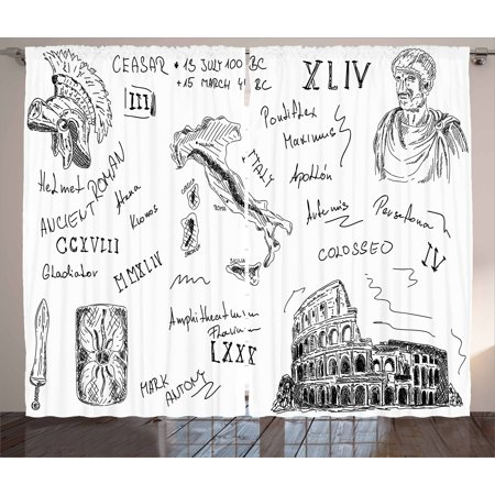 Toga Party Curtains 2 Panels Set, Ancient Roman Period Icons Caesar Colosseum Gladiator Helmet Sketch Art, Window Drapes for Living Room Bedroom, 108W X 90L Inches, Black and White, by Ambesonne (Roman Toga)