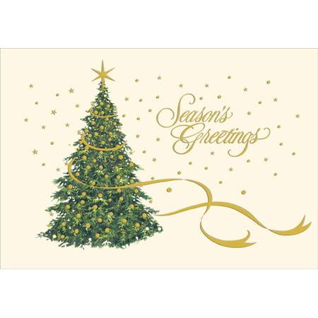 Designer Greetings Gold Foil on Christmas Tree Christmas Card Single Power Foil Card