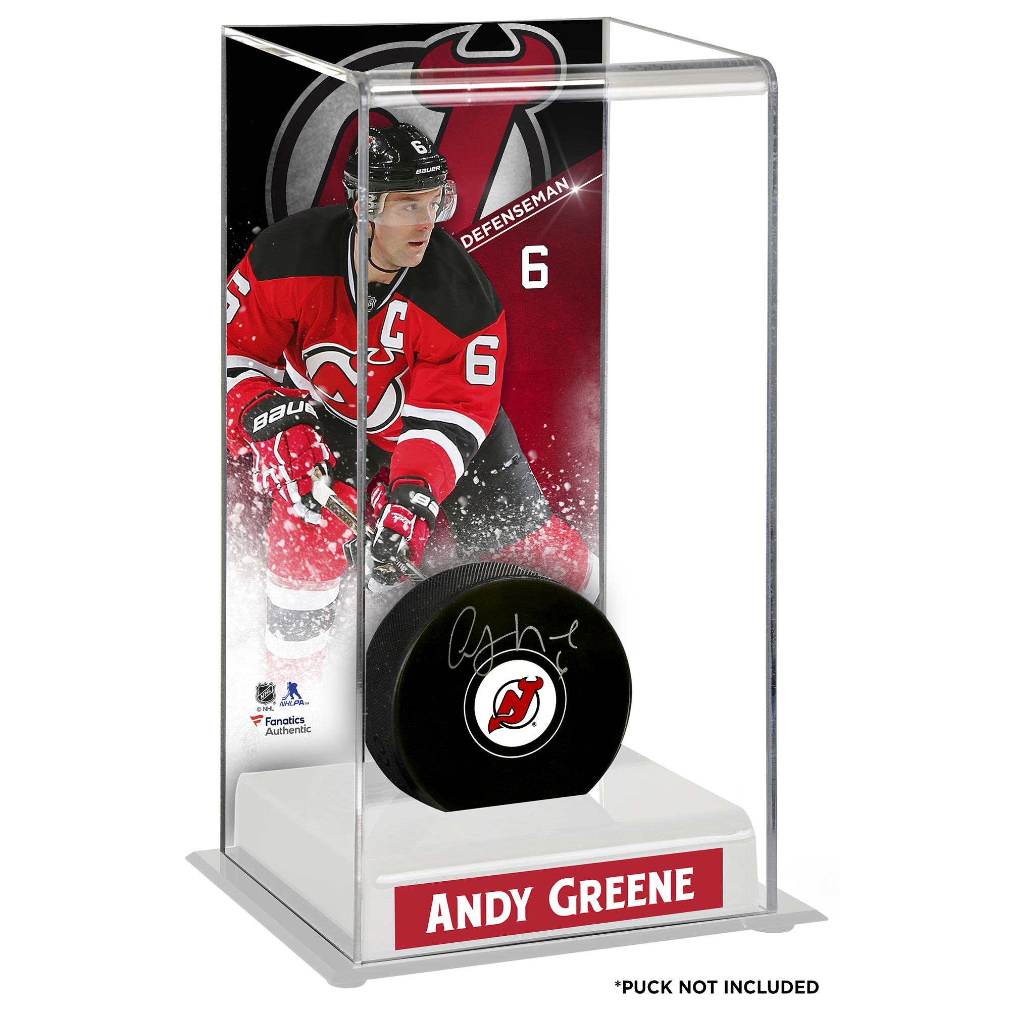 Andy Greene New Jersey Devils Fanatics Authentic Deluxe Tall Hockey Puck Case - No Size