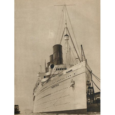 Cunard White Star Line ('Former Queen of the Ocean, R,M.S. Mauretania of the Cunard White Star Line', 1936 Print Wall Art)