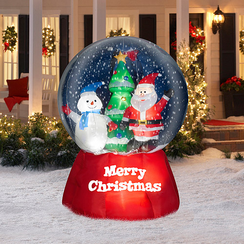 5.5' Tall x 4.5' Wide Airblown Snow Globe with Santa and Snowman Christmas Inflatable
