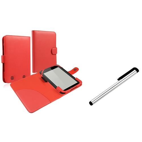 """Insten Red Folio PU Leather Pouch Cover Case+Silver Stylus+Pen For BN Nook HD 7"""" tablet"""