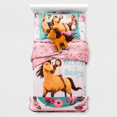 Spirit Riding Free Reversible Twin Comforter, 3 Piece Twin Sheet Set with Pillow Horse Buddy