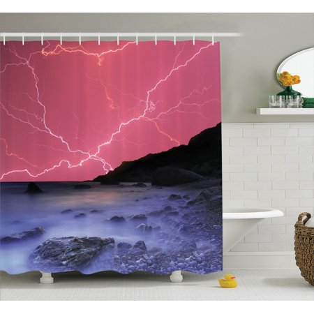 Lake House Decor  Thunderstorm Bolts With Vivid Colorful Sky Like Solar Lights Phenomenal Nature Picture  Bathroom Accessories  69W X 84L Inches Extra Long  By Ambesonne