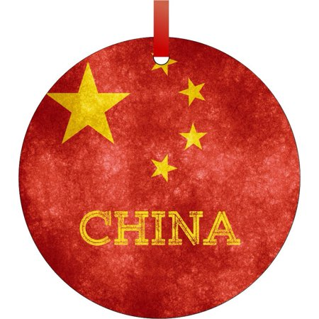 China Grunge Flag - TM - Double-Sided Round-Shaped Flat Aluminum Christmas Holiday Hanging Ornament with a Red Satin Ribbon. Made in the USA!