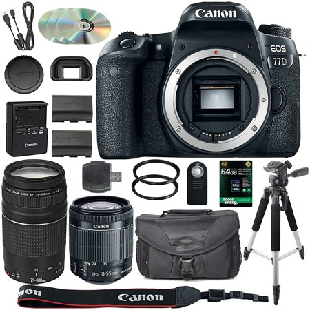 Canon EOS 77D DSLR Camera + 18-55mm STM + 75-300mm III Lens + Spare LP-E17 Battery + Two Ultraviolet Filters + 64GB SDXC Card + SLR Bag + Remote + Tripod &