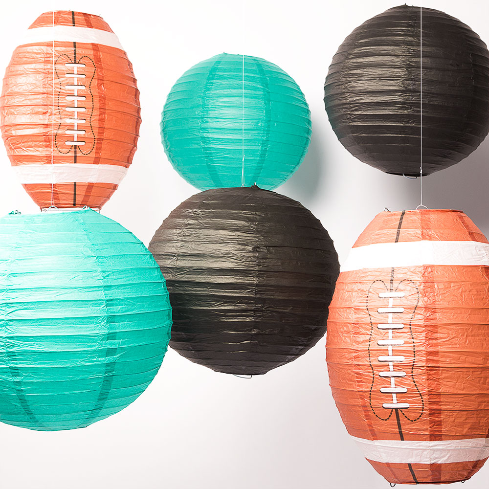 Jacksonville Pro Football Paper Lanterns 6pc Combo Tailgating Party Pack (Black/Teal)  - by PaperLanternStore