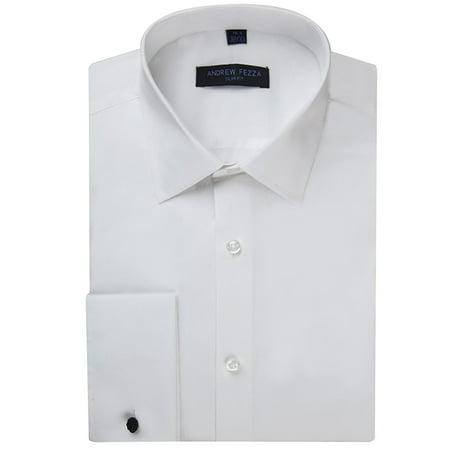 Andrew Fezza Men's Flex Collar Slim Fit French Cuff Solid Dress Shirt - White - 15 2-3 Collar French Cuff Dress Shirt