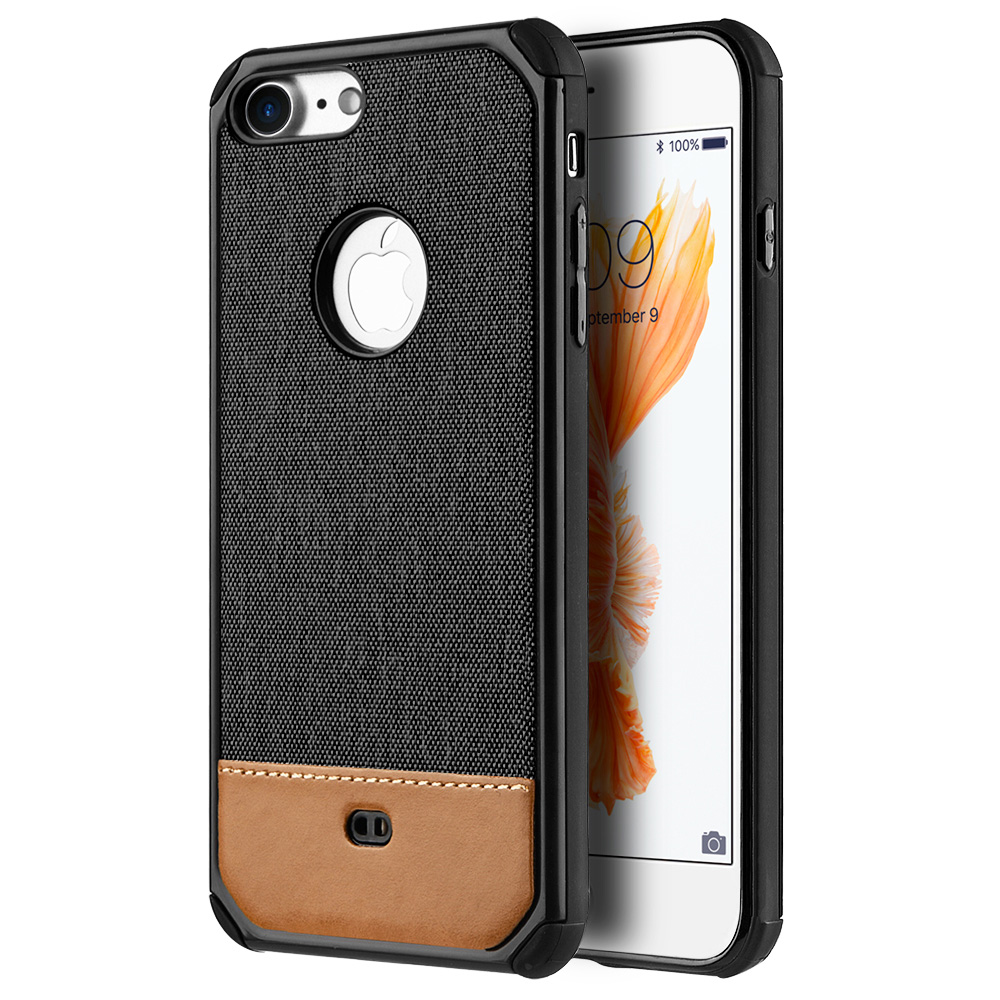 iPhone 7 Case, Canvas Dual Layer Hybrid Hard Back Case TPU Protective ShockProof Cover for Apple iPhone 7 - Black