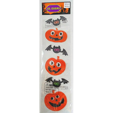 Nantucket Home Large Halloween Gel Window Clings (Pumpkin & Bats) - Kawaii Halloween Pumpkin