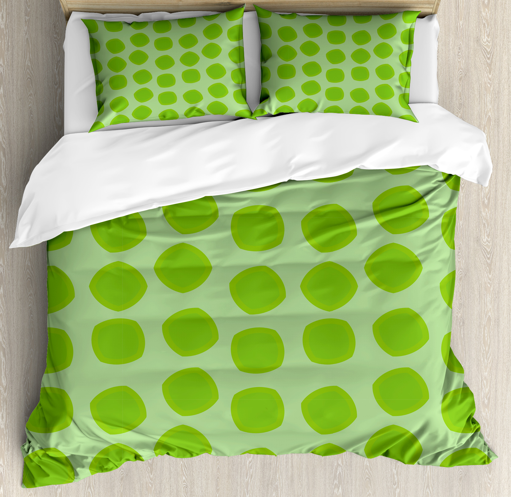 Lime Green Duvet Cover Set, Simplistic Formless Geometric Shapes in Different Shades Kids Nursery Theme, Decorative Bedding Set with Pillow Shams, Almond Green, by Ambesonne