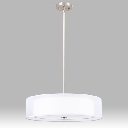 Revel Lindos 20  3 Light Double Drum Chandelier   Glass Diffuser  Stem Hung With Adjustable Height  Brushed Nickel