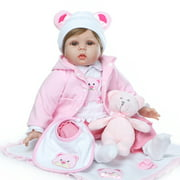 "Baby Doll, 22"" Baby Toys for 2 Year Old Girls with Bear Dress, Toy Bottle, Pacifier, Baby Reborn Doll Silicone for Halloween, Realistic Movable Arms and Legs Baby Dolls for Girls - In Pink, Q5157"