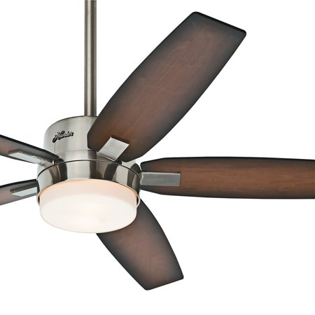 hunter fan 54 contemporary brushed nickel ceiling fan with light fixture and remote control 5. Black Bedroom Furniture Sets. Home Design Ideas