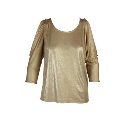 Inc International Concepts Gold Metallic Cold-Shoulder Top XS - Metallic Gold Skirt