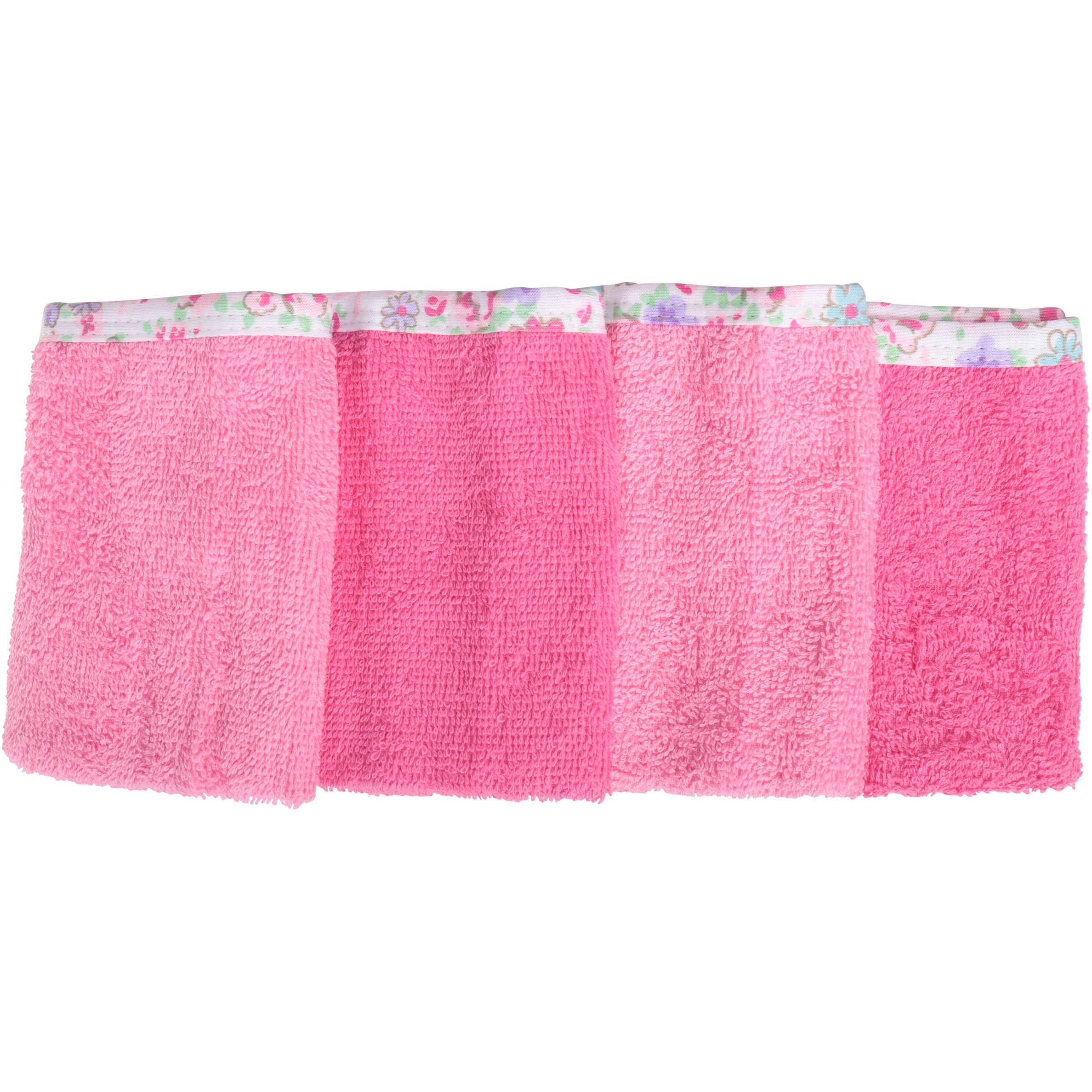 Newborn Baby Girl Assorted Woven Premium Solid Washcloths, 4-Pack