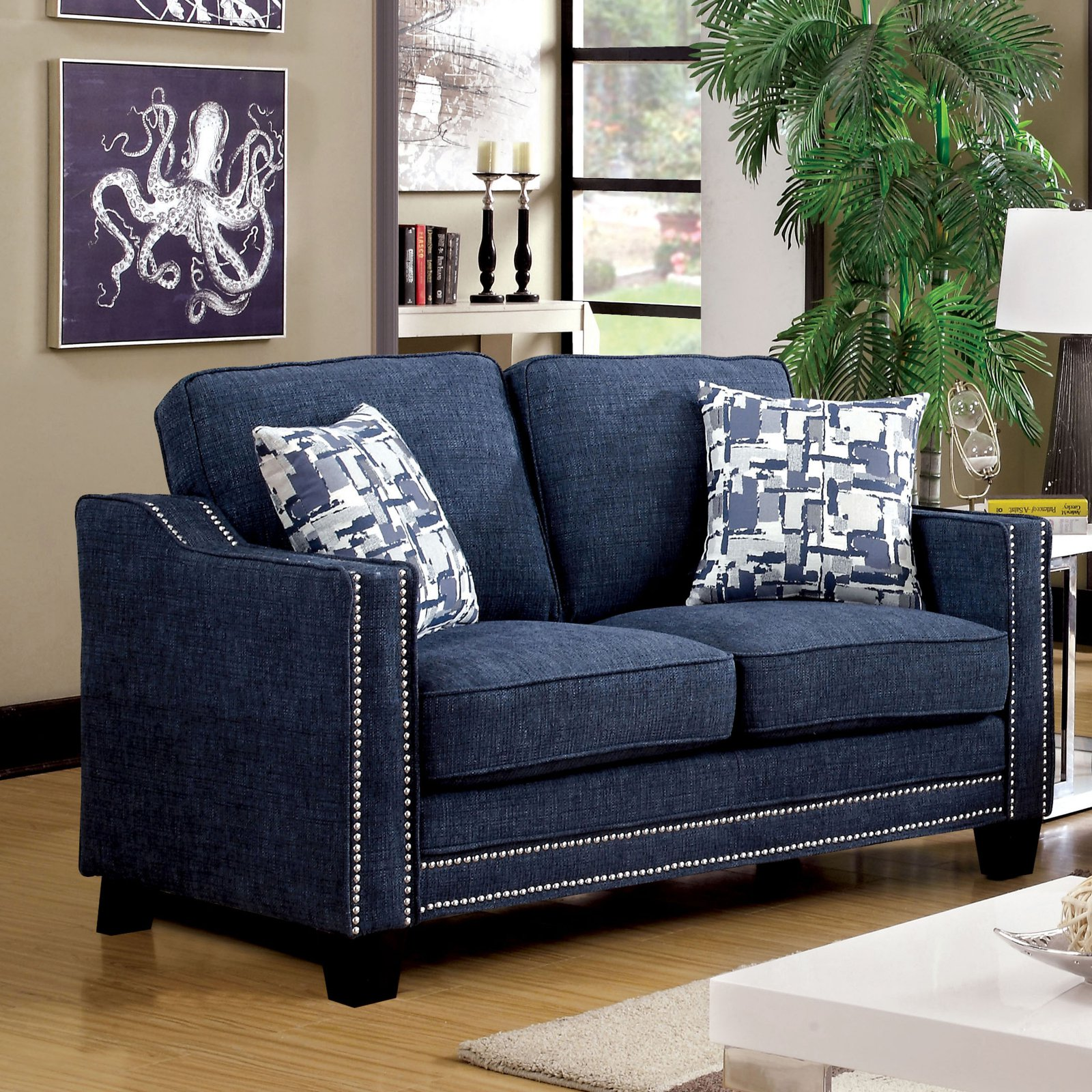 Furniture of America Polin Studded Chenille Loveseat with Pillows
