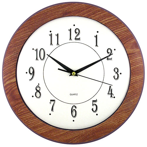 Faux Wood Grain Framed Wall Clock