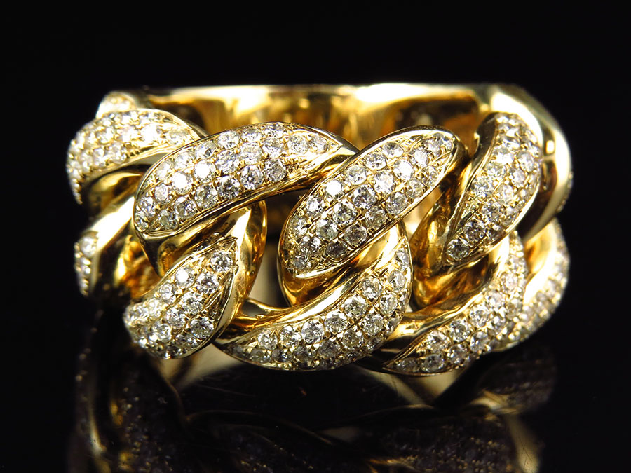 14K Yellow Gold Cuban Link Diamond Statement Ring (3.0ct) by Jewelry Unlimited