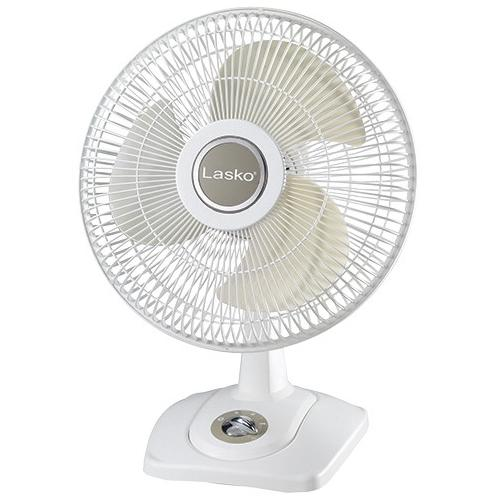 "Lasko 12"" Oscillating Premium Table Fan w/ 3 Speeds (White)"