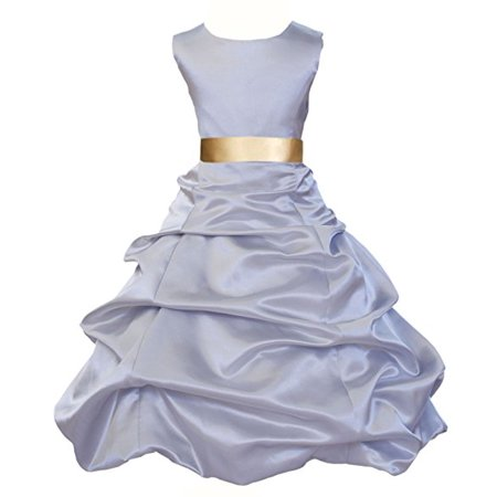 Ekidsbridal Silver Satin Pick-Up Bubble Flower Girl Dresses Formal Special Occasions Dresses Wedding Pageant Recital Reception Party Ball Gown Graduation Birthday Girl Ceremony Princess 806S