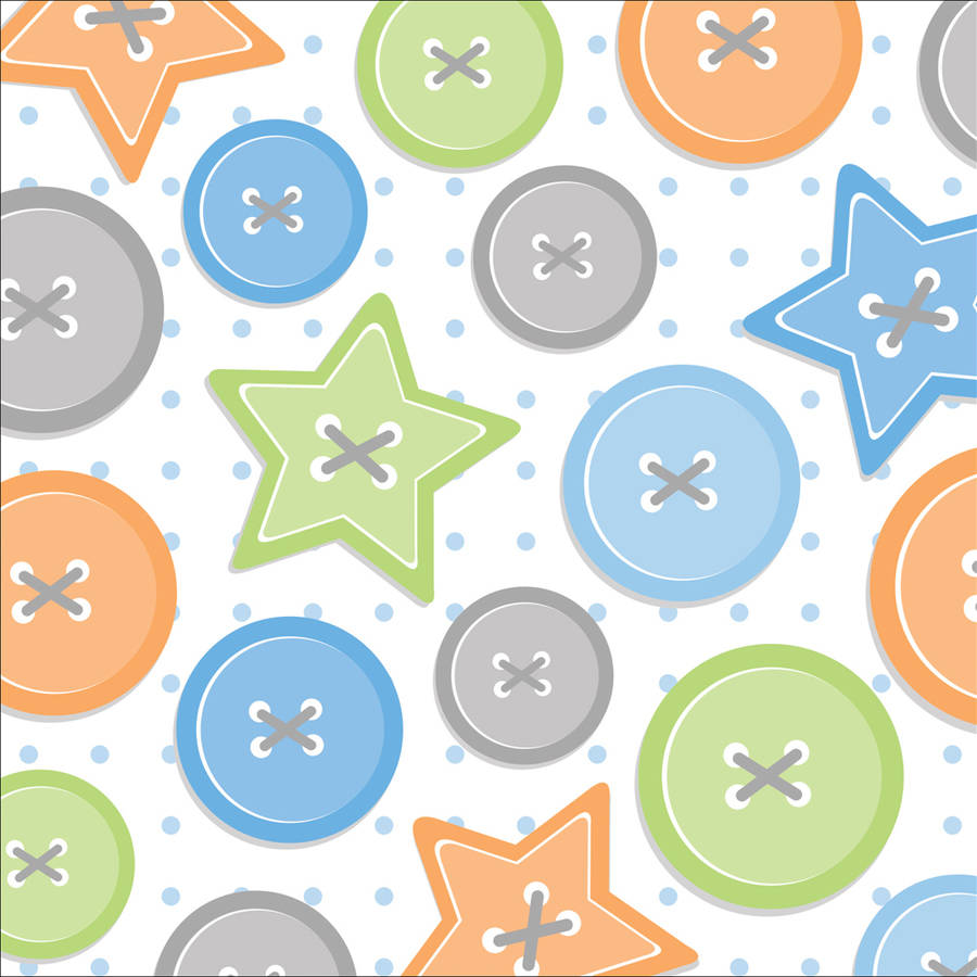 Cute as a Button Boy Beverage Napkins, 16-Pack
