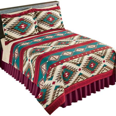Aztec Fleece Southwest Design Theme Lightweight Bedding Coverlet, Full/Queen, Brown - Southwest Stamped Design
