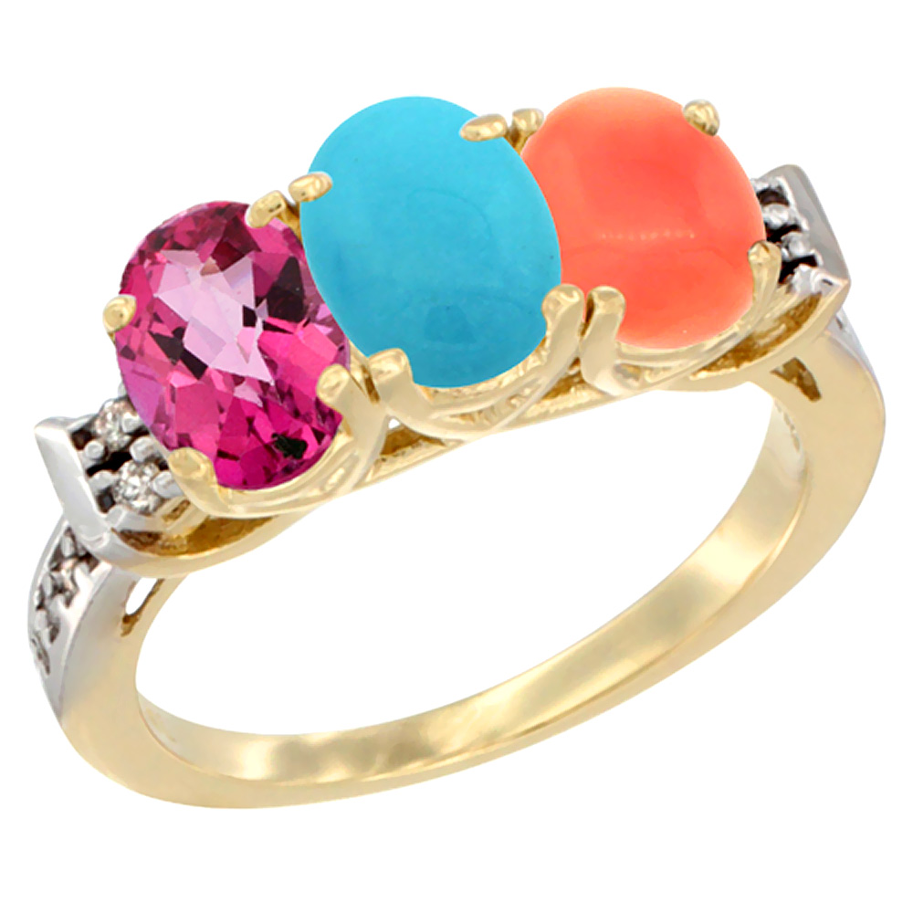 10K Yellow Gold Natural Pink Topaz, Turquoise & Coral Ring 3-Stone Oval 7x5 mm Diamond Accent, sizes 5 10 by WorldJewels