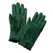 Isotoner Womens Emerald Green Suede Leather Gloves Back Vent & Microluxe Lining