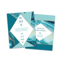 Personalized Blue Marble Will You Be My Bridesmaid Invitation