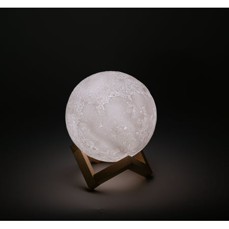 3D Printed Moon Lamp with Stand - 6 inches, Dimmable, Rechargeable, Touch LED Night Light Tuscan Six Light