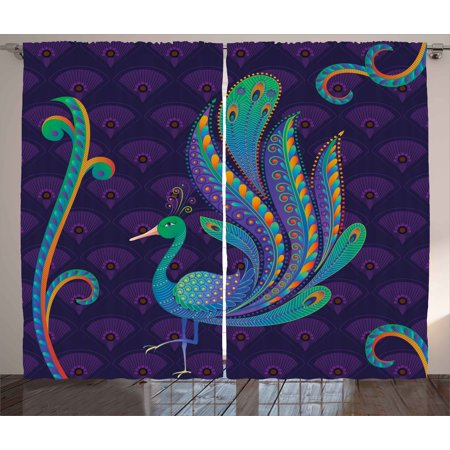 Ethnic Curtains 2 Panels Set, Peacock Bird with Oriental Feather before Eastern Spiritual Animal Image, Window Drapes for Living Room Bedroom, 108W X 96L Inches, Purple Green Blue, by Ambesonne