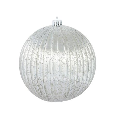 Pewter Mercury Pumpkin Ball Ornament, 6 in. - 4 per Bag